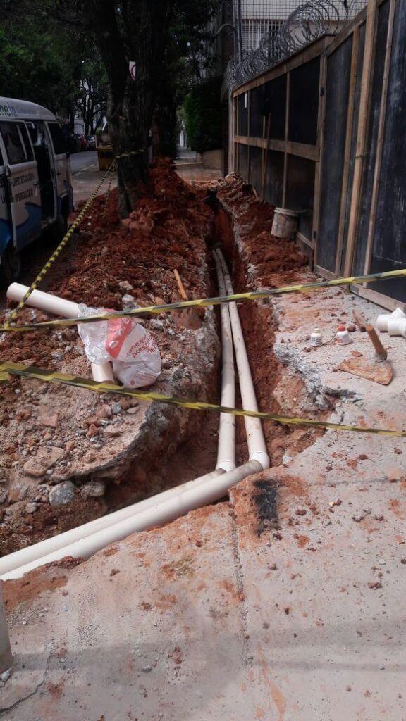 Substituição da tubulação de rede pluvial Rede de esgoto